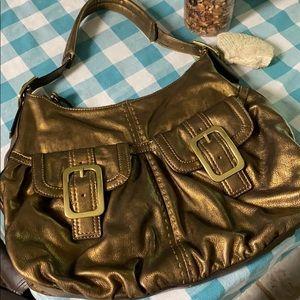 NICE COLE HAAN bronze leather hobo clean big roomy
